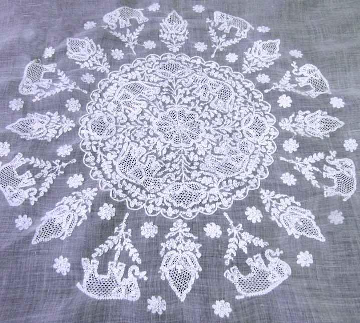 close up 1 vintage antique tablecloth handmade figural lace elephants
