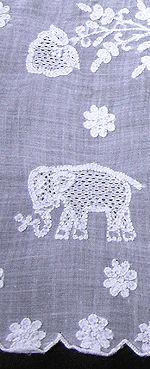 vintage antique white linen tablecloth handmade figural lace elephants