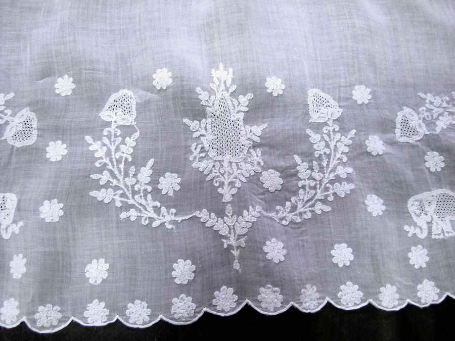 close up 4 vintage antique tablecloth handmade figural lace elephants