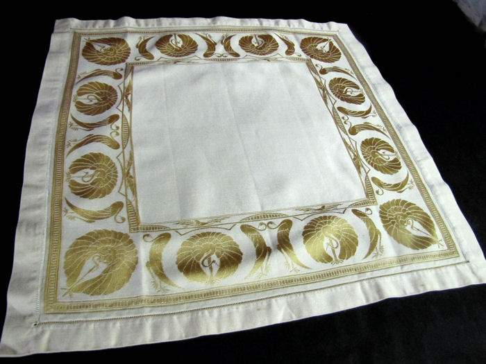 vintage antique art deco yellow figural damask napkins