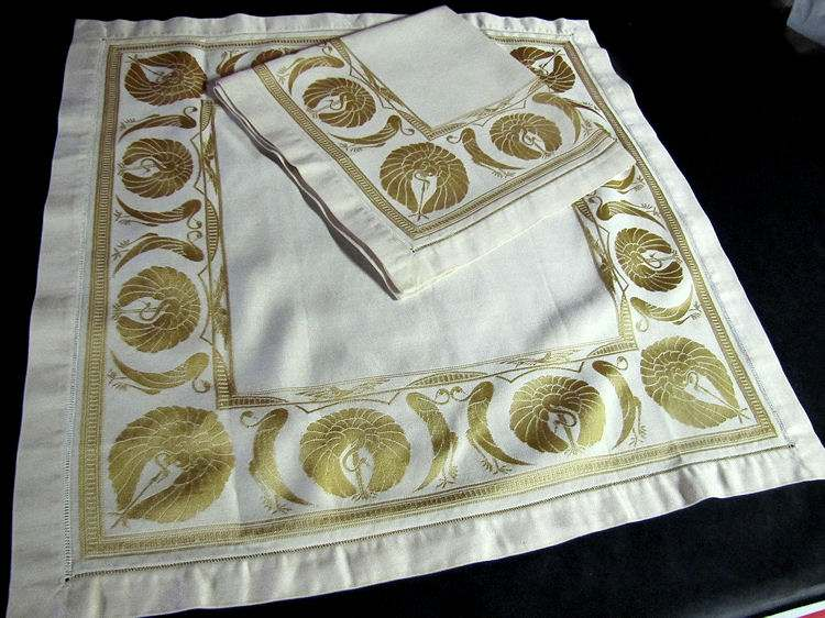 close up vintage antique art deco yellow figural damask napkins