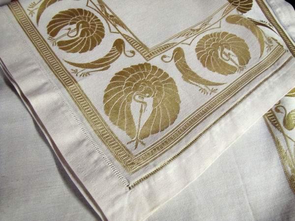 close up 2 vintage antique art deco yellow figural damask napkins