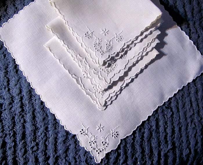 vintage antique handmade Madeira napkins