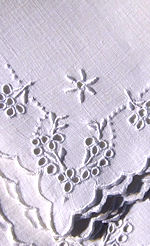 6 vintage luncheon napkins white linen handmade Madeira lace embroidery