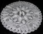 antique vintage figural lace table topper