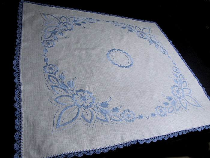 vintage linen tablecloth blue handmade lace and embroidery