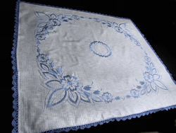 vintage linen tablecloth handmade lace and embroidery blue