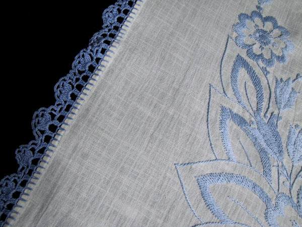 corner vintage linen tablecloth handmade lace and embroidery