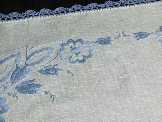 age yellowing on vintage handmade tablecloth