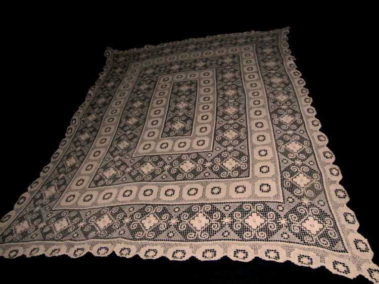 vintage handmade lace tablecloth