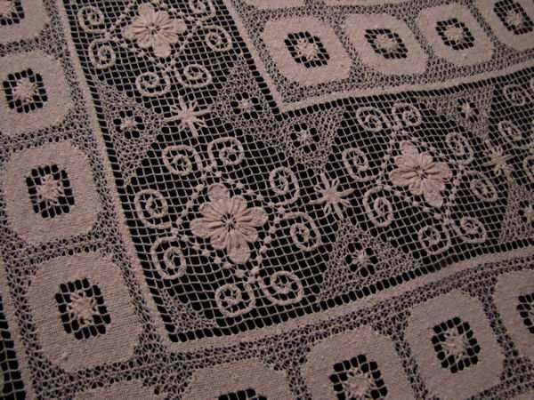 close up handmade lace geometric patterns tablecloth