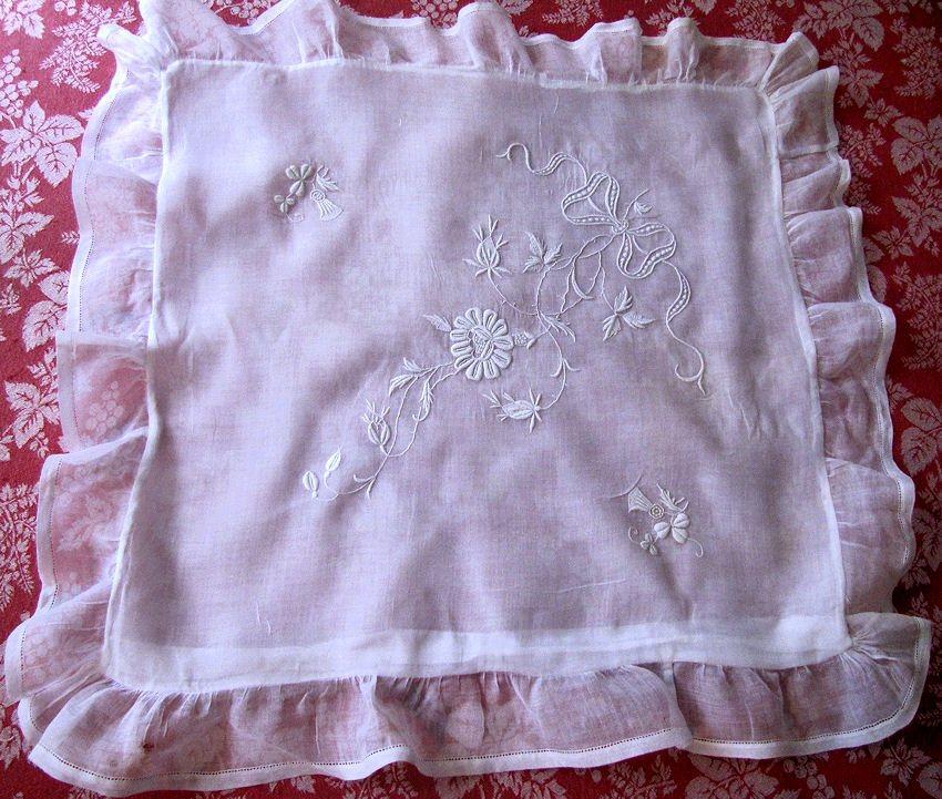 vintage antique pillow sham handmade whitework embroidery