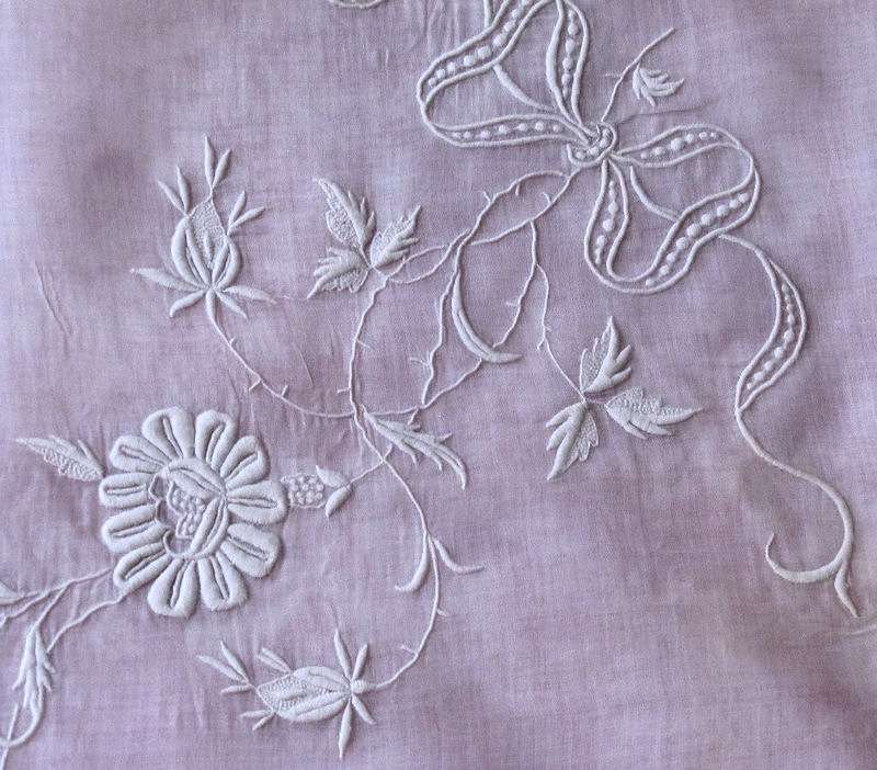 close up vintage antique pillow sham handmade whitework embroidery