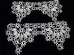 pair vintage antique handmade lace end pieces