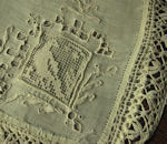 antique handmade figural lace pillow cover