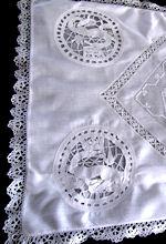 antique boudoir pillow cover handmade figural lace