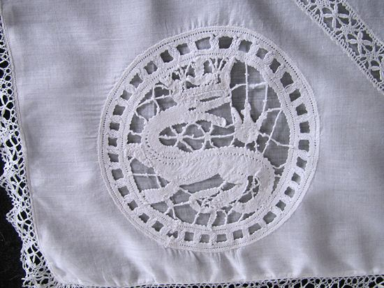 another corner antique figural lace pillow cover