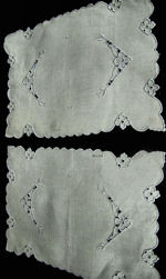 pair vintage Madeira cutwork lace doilies