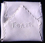 vintage roll cover white linen embroidered toast