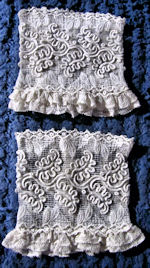 pair antique dress cuffs combination lace