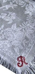 12 vintage figural damask napkins linen monogrammed R