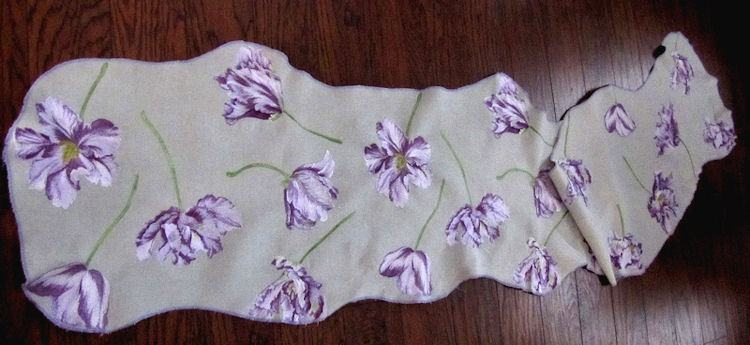 vintage table runner dresser scarf purple flowers