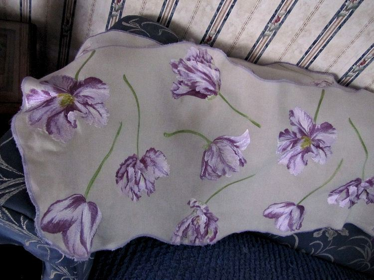 vintage table runner piano scarf embroidered purple flowers