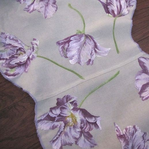 center seam vintage purple flowers table runner dresser scarf