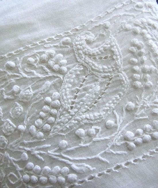 close up 2 antique Aryshire whitework lace trim