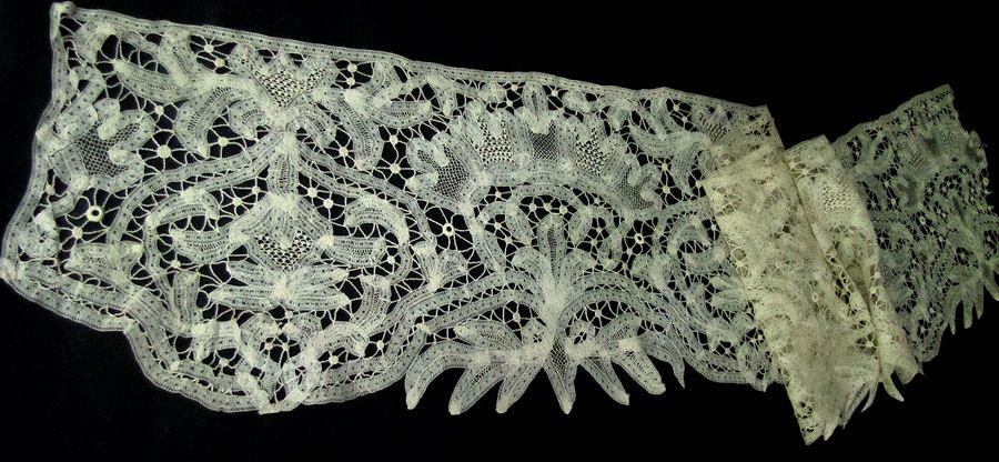 antique handmade tape and needle lace trim