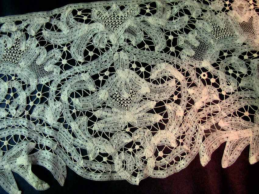 close up 2 antique handmade tape and needle lace trim