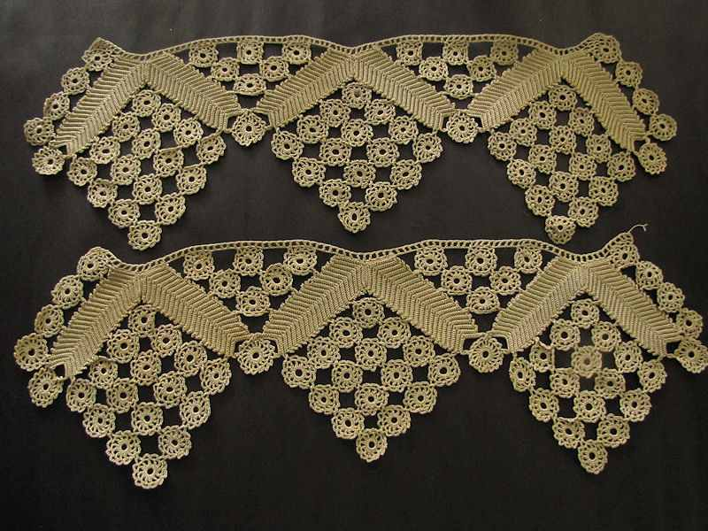 pair vintage handmade lace trim or ends for table runner or towel