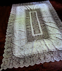 vintage antique tablecloth handmade figural lace