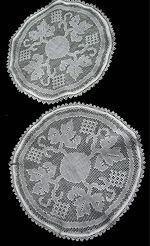 pair vintage white linen doilies handmade lace