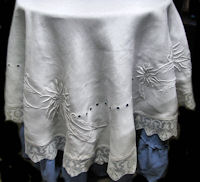 vintage tablecloth round handmade lace