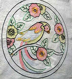 vintage throw or accent arts and crafts pillow cover embroidered parrot