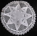 vintage handmade white linen doily with lace