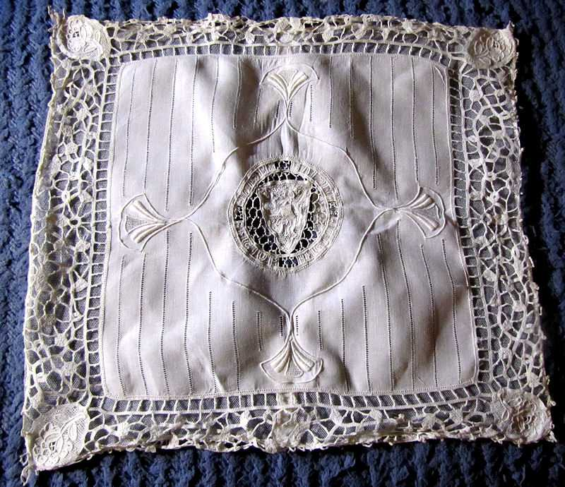 vintage antique handmade pillow cover figural lace