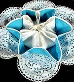 vintage scones server blue linen eyelet lace