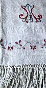 vintage linen show towel monogrammed M