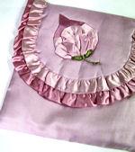 vintage satin hanky bag or folder with rose