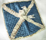 vintage hanky bag or folder blue satin quilted and ruffled white satin