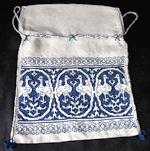 vintage drawstring bag figural Assisi embroidery