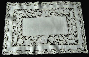 vintage linen and figural lace placemats