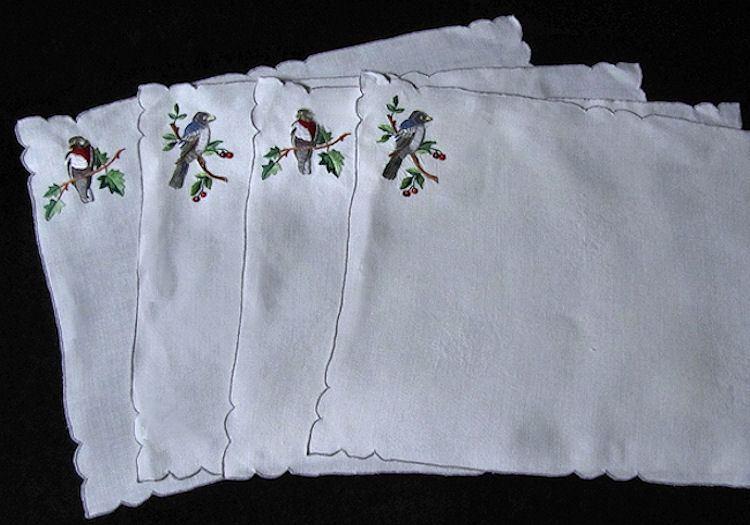 vintage placemats Porthault embroidered birds