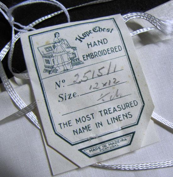 label vintage white linen Maderia napkins
