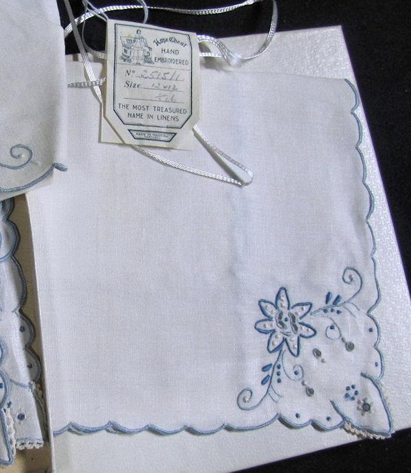 corner vintage white linen Madeira napkins     style=