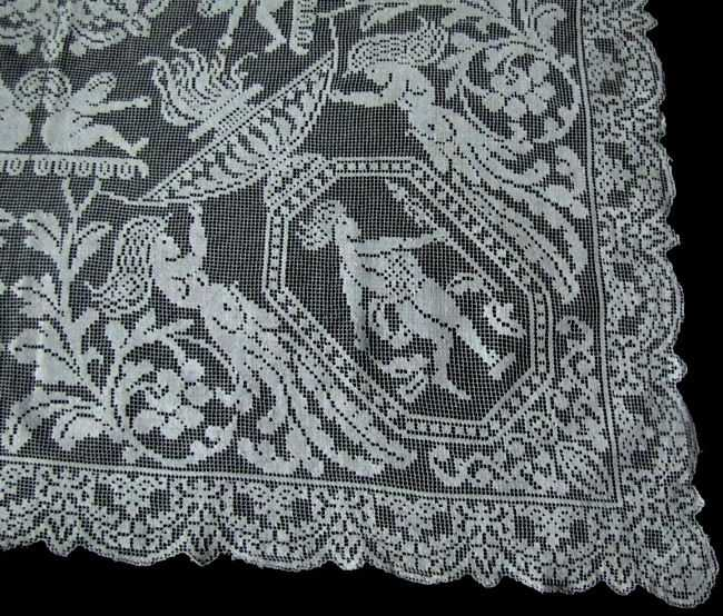 close up 2 vintage antique handmade figural lace table topper