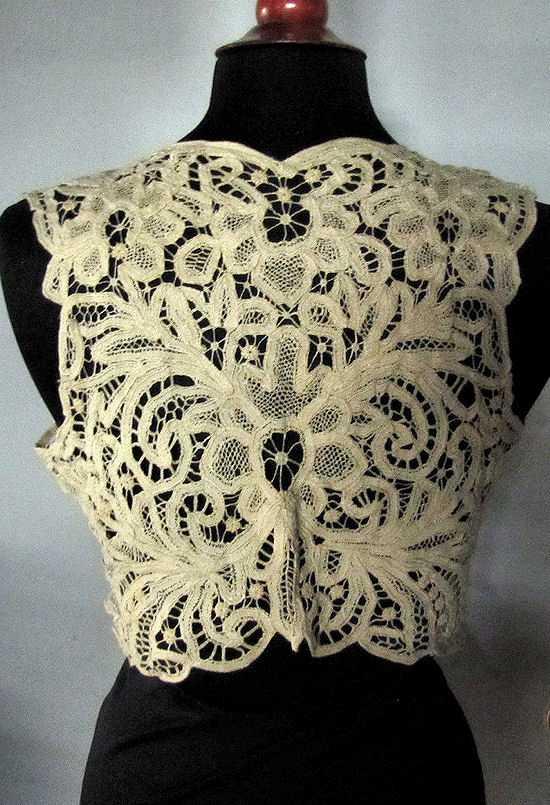 back vintage antique handmade lace cape