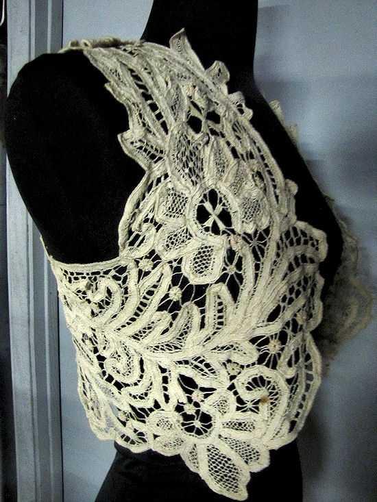 close up  vintage antique handmade lace cape